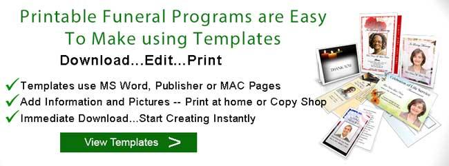 Printable Funeral Programs Templates - printable funeral program templates