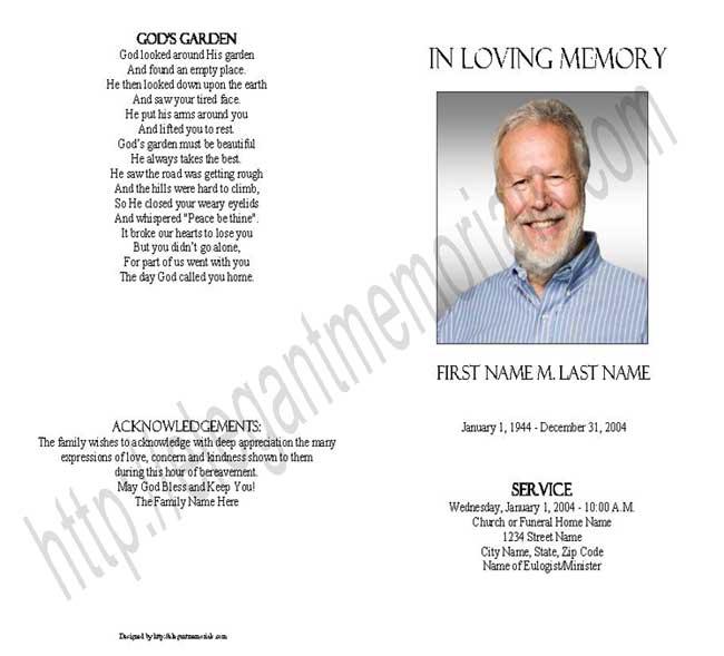 Blank Funeral Program Template Memorial - Elegant Memorials