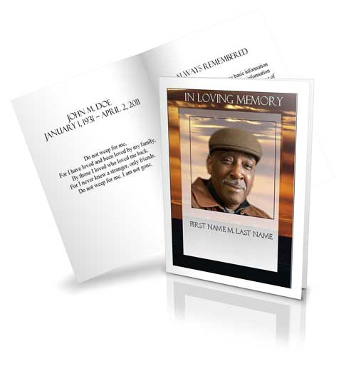 Select Funeral Program Card Design and Layout - obituary cards templates