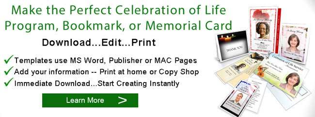 Celebration of Life Service Memorial Planning Ideas Programs