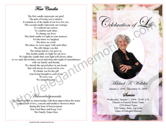 Celebration of Life Service Program Sample Samples of Memorial - funeral service announcement template