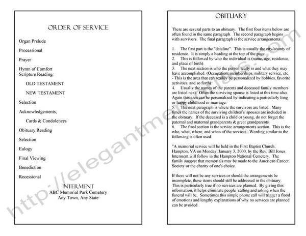 Sample Memorial Program Template Funeral Program Sample Inner - funeral obituary template