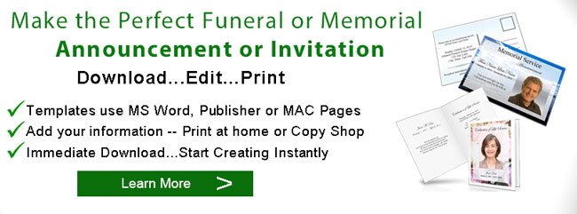 Sample Memorial Service Invitation Sample Funeral Announcement - memorial service invitation wording