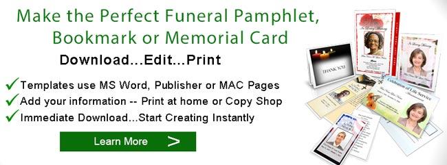 Funeral Pamphlet Memorial Pamphlets Service Handouts