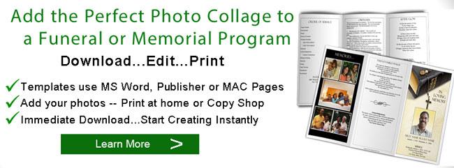 Funeral Program Photo Collages Memorial Booklet Pictures - Elegant