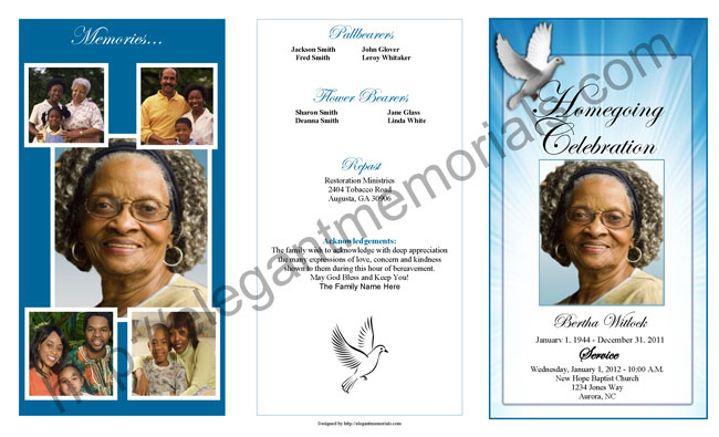 funeral program example - deodeatts - program for a funeral