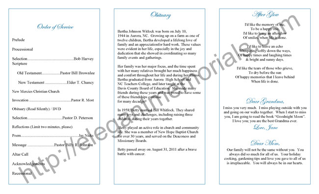 Sample Memorial Program Template Sample Funeral Program Sample - sample program templates