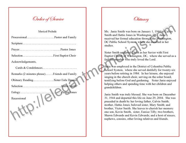 Funeral Program Sample Example of Memorial Programs - Elegant