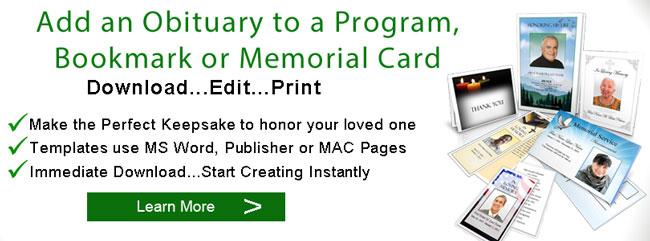 Sample Obituaries Obituary Samples Obituary Programs Template