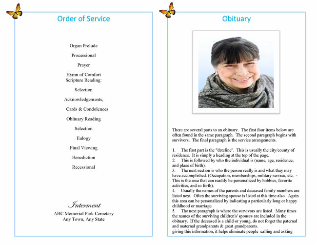 Funeral Booklet Sample Funeral Programs Obituary Booklets - program for a funeral
