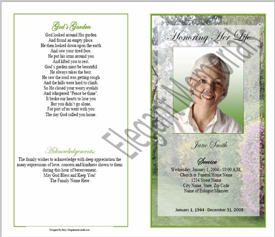 Sample Funeral Program Memorial Booklet Samples Funeral Programs