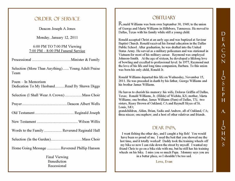 Obituary Program Sample Obituary Template Memorial Service