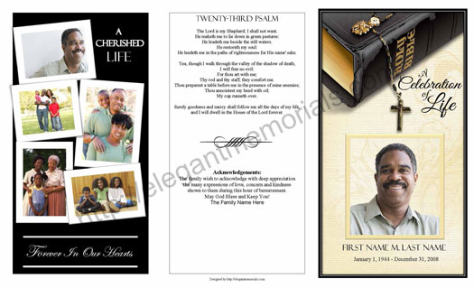 Trifold Funeral Program Example Funeral Programs with Collage - free template for funeral program