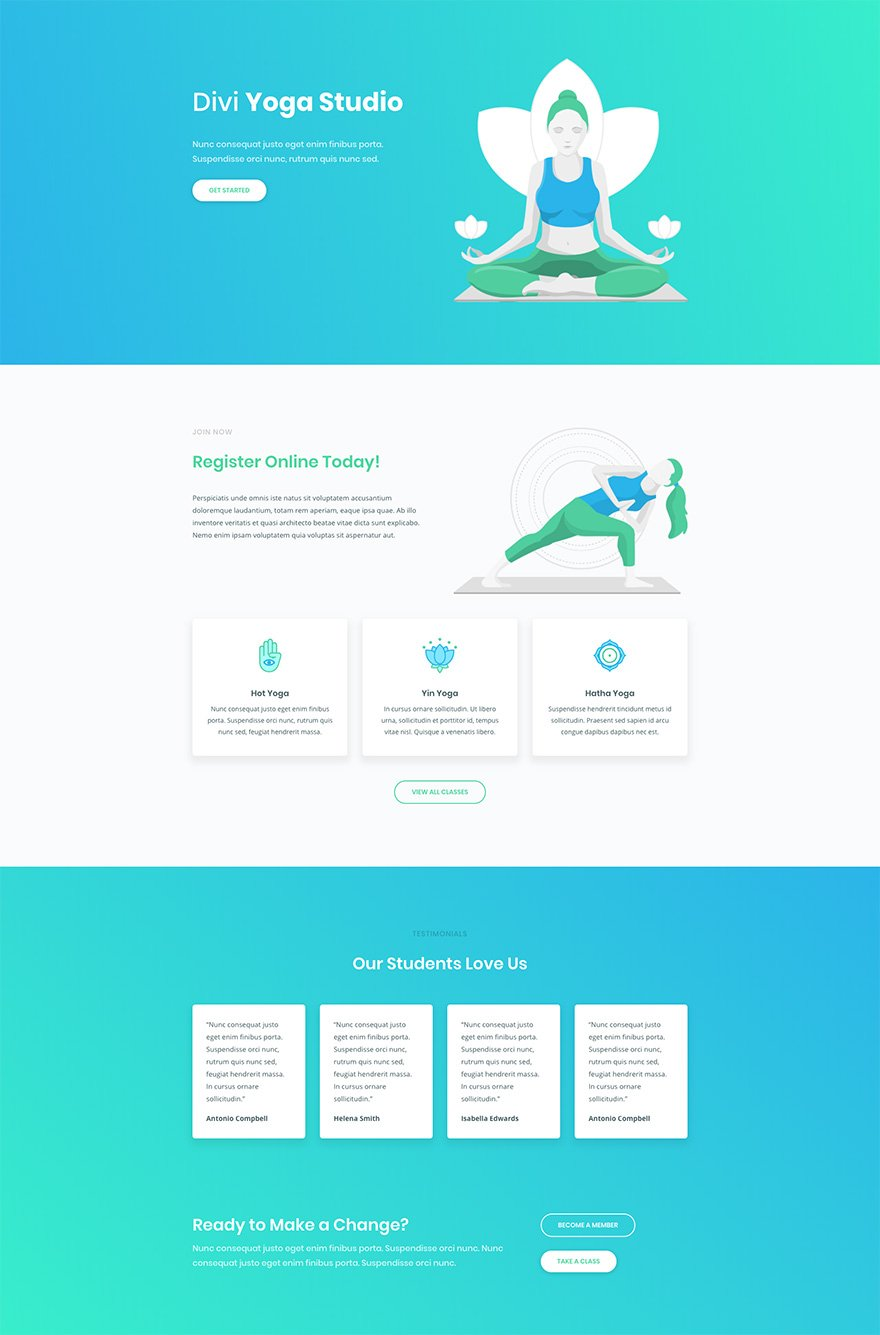 Free Wordpress Yoga Template Download A Free Inspiring Yoga Layout Pack For Divi