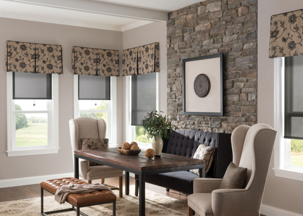 Roman Shades With Curtains Soft Window Treatments - Custom Window Treatments Connecticut