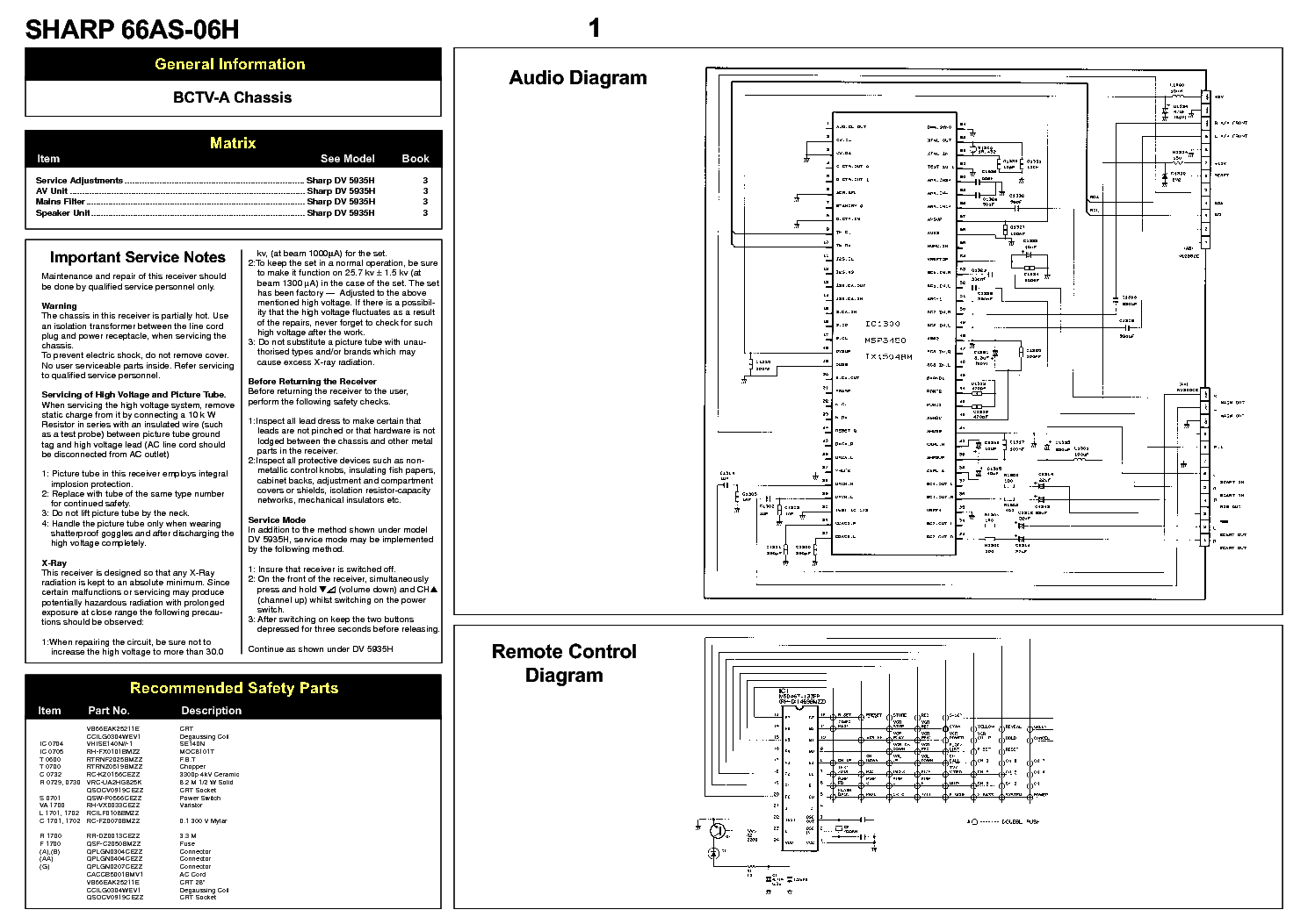 sharp 66as 06h television schematic diagram