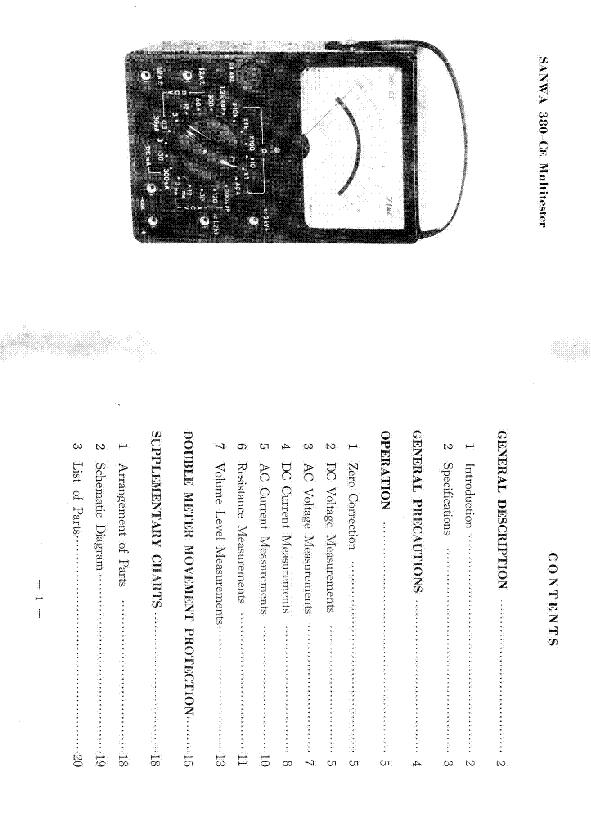 sanwa analog multimeter schematic diagram