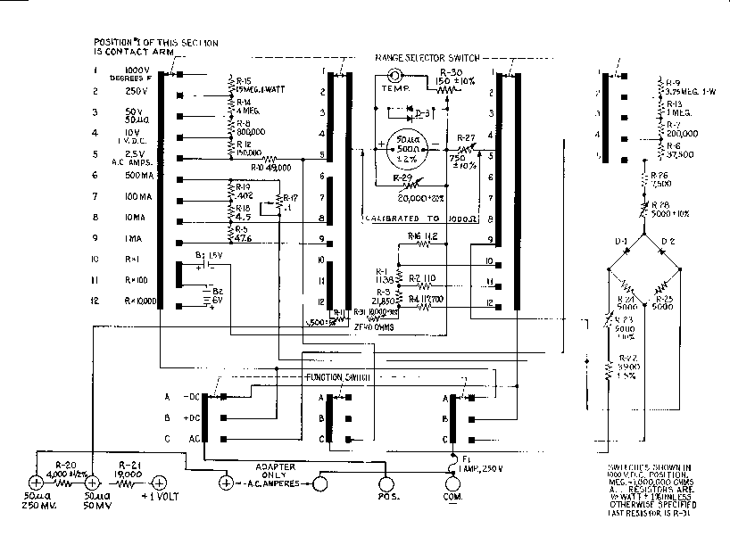 analogue multimeter schematic diagram click on diagram to zoom in