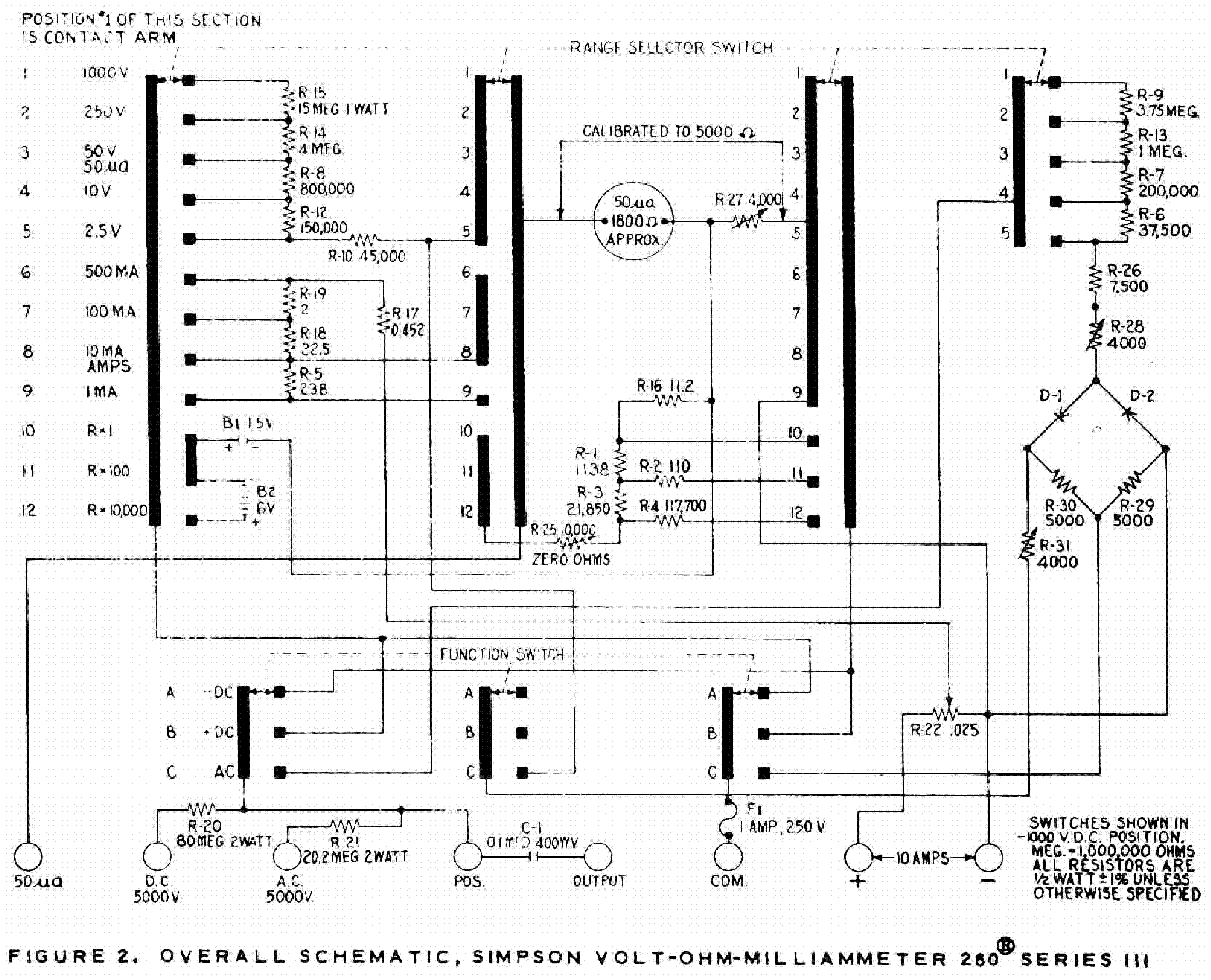 Multimeter Schematic Diagram Auto Electrical Wiring Diagrams For A Simpson 260