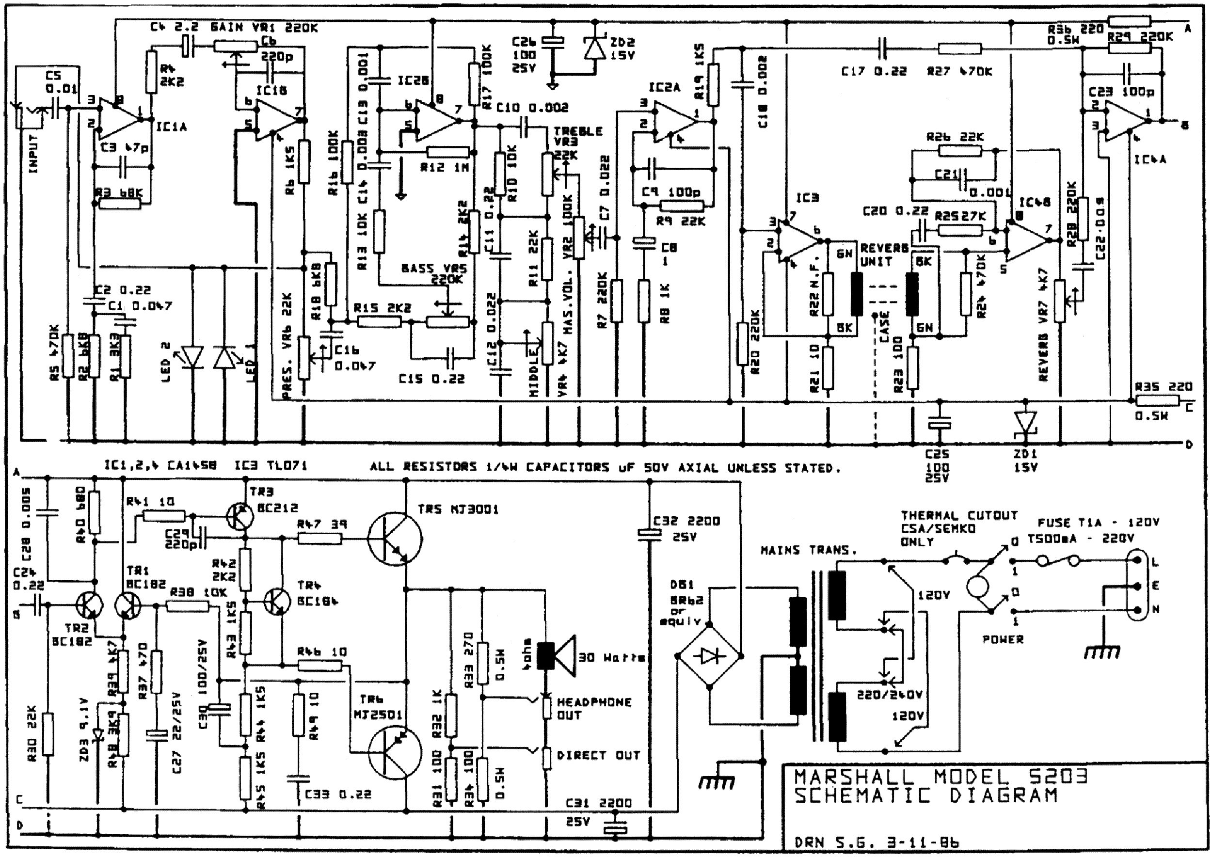 marshall stanmore circuit diagram
