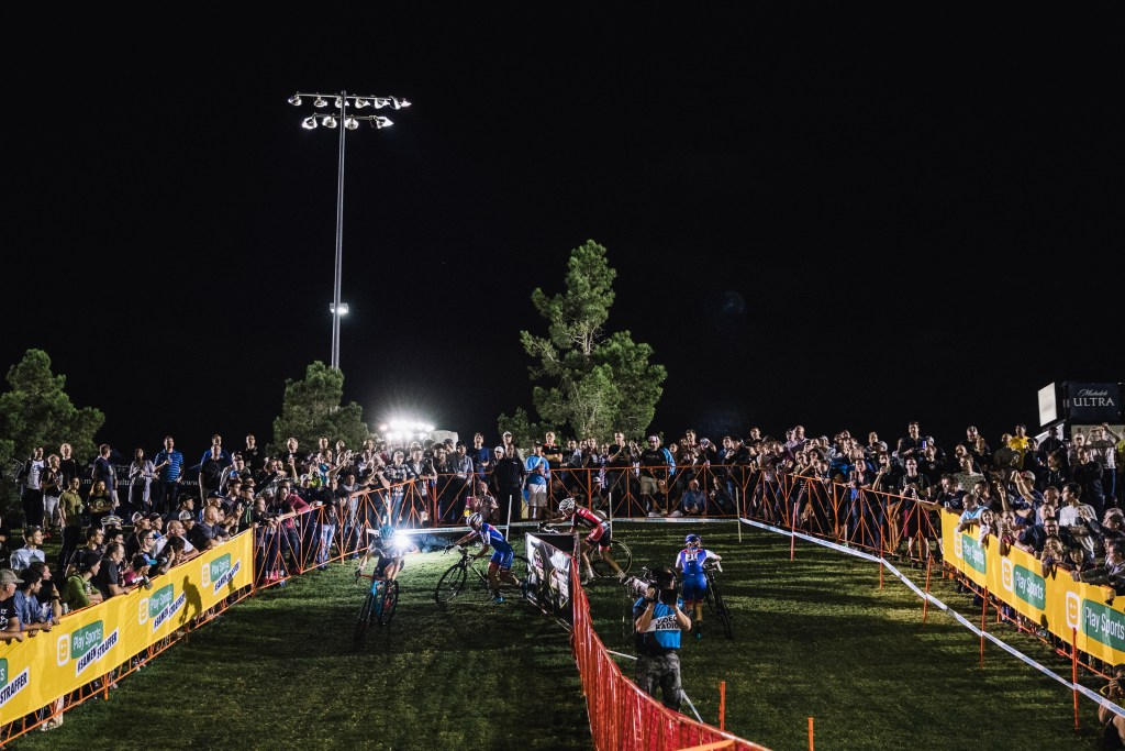 The lead group of the elite women race during UCI Cyclo-cross World Cup CrossVegas 2016 at the Desert Breeze Complex in Las Vegas, Nevada on September 21, 2016.