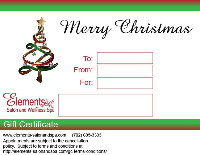 Gift Card Elements Salon and Wellness Spa