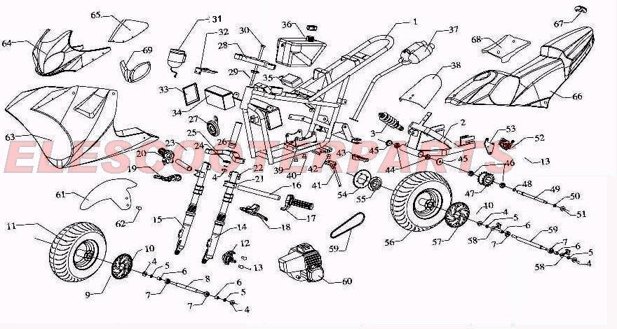 49cc Pocket Bike Wiring Diagram Baja 50cc 4 Stroke Engine Diagram