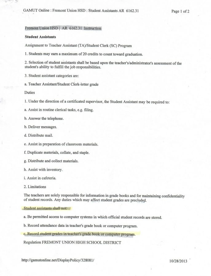 Administration reinforces \u0027no grading by teacher assistants\u0027 policy
