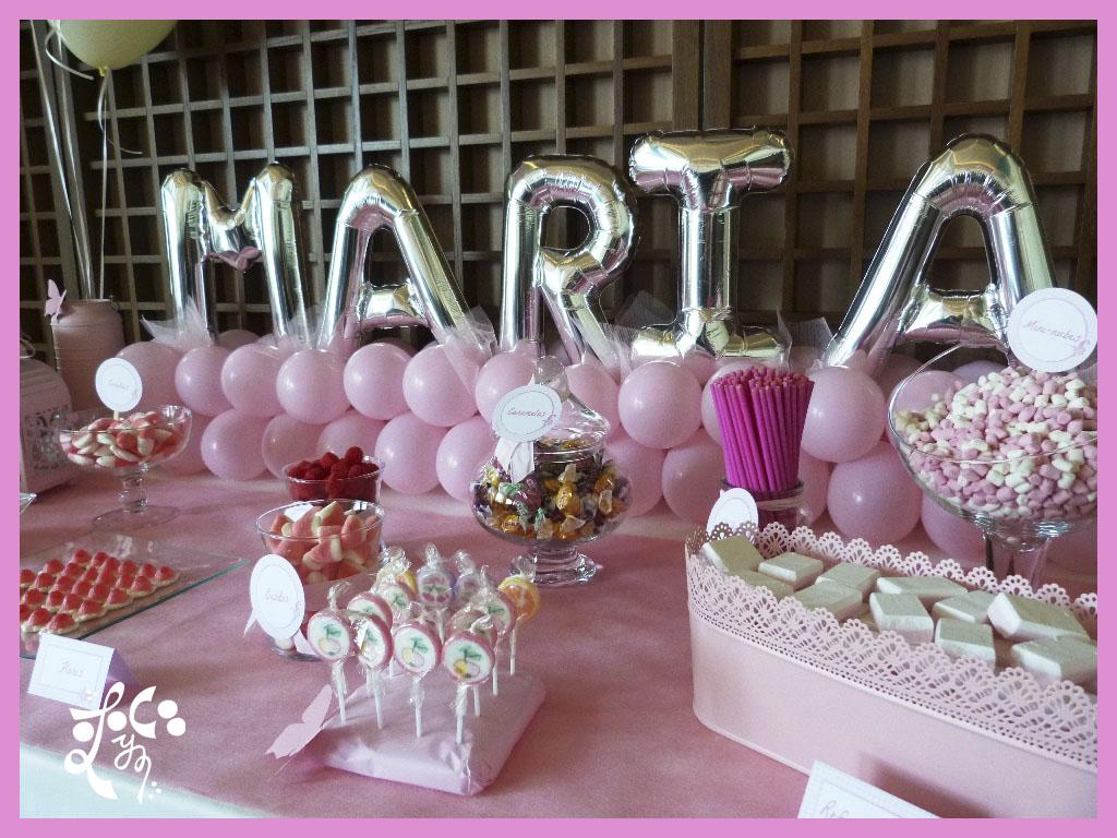 Decoracion con globos para una comuni n eleyce - Preparar mesa dulce para comunion ...