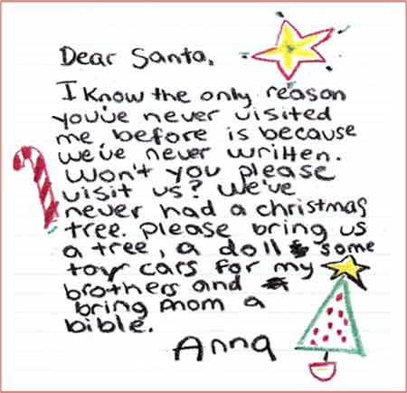 Letter to Elf Louise Christmas Project, San Antonio, Texas - child letter