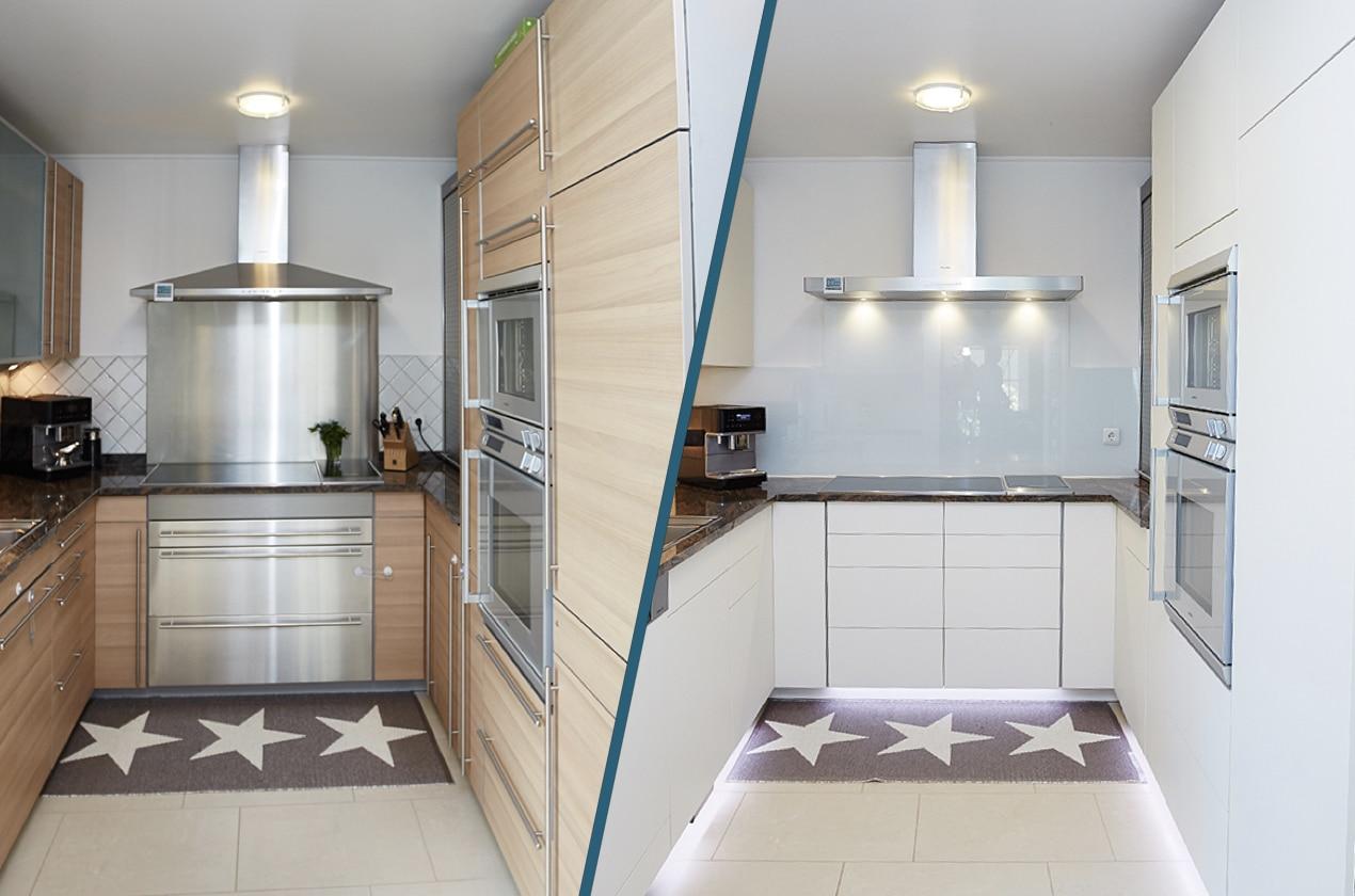Küche Weiß Grifflos Holz Arbeitsplatte