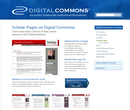 Digital Commons Site – Personal Scholar Pages