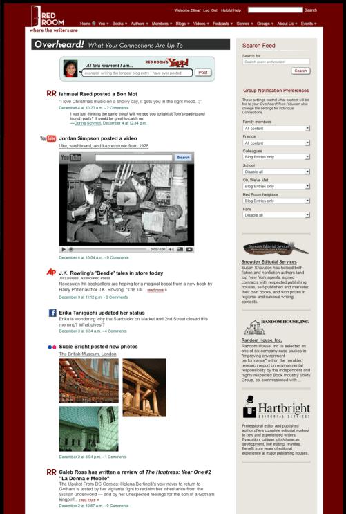 redroom Overheard news feed and posting tool
