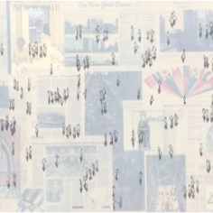 """Shadows on N.Y. Times – Sunday"" 2015 Mixed media on canvas - framed 80 x 180 cm (32"" x 72"")"