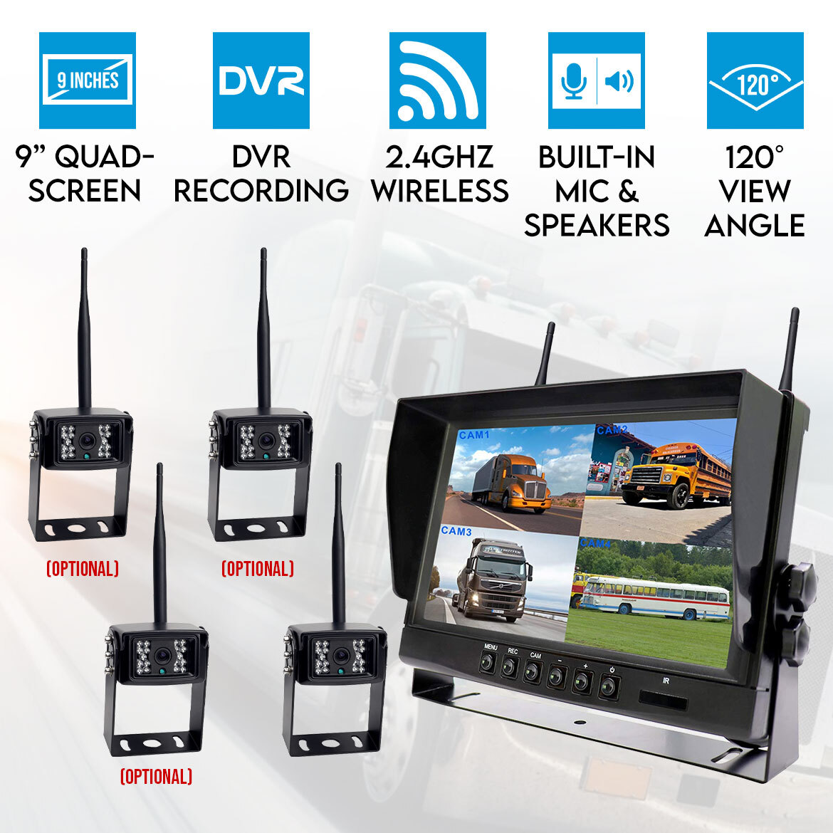12v Led Quad Digital Wireless 9inch Quad Splitscreen Monitor Dvr Reversing