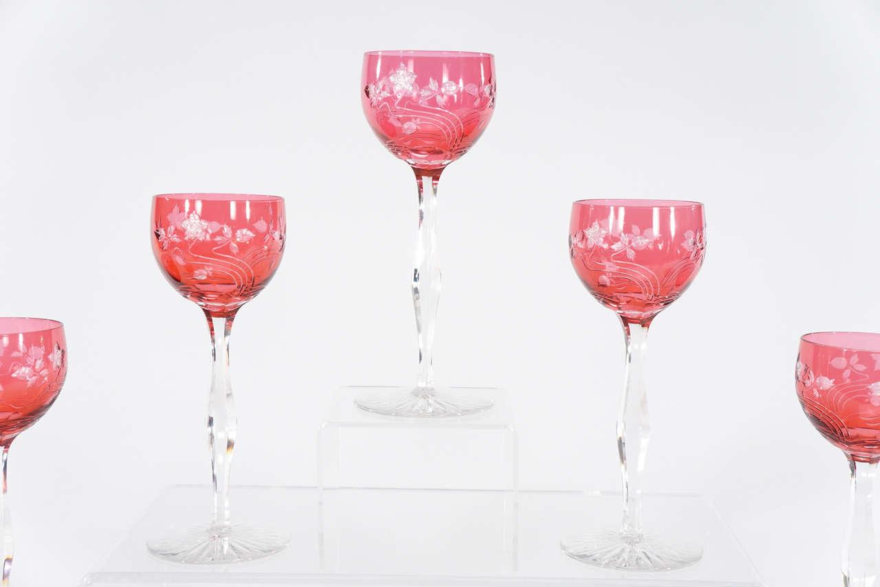 Goblet Style Wine Glasses 12 Baccarat Cranberry Art Nouveau Hock Wine Goblets With