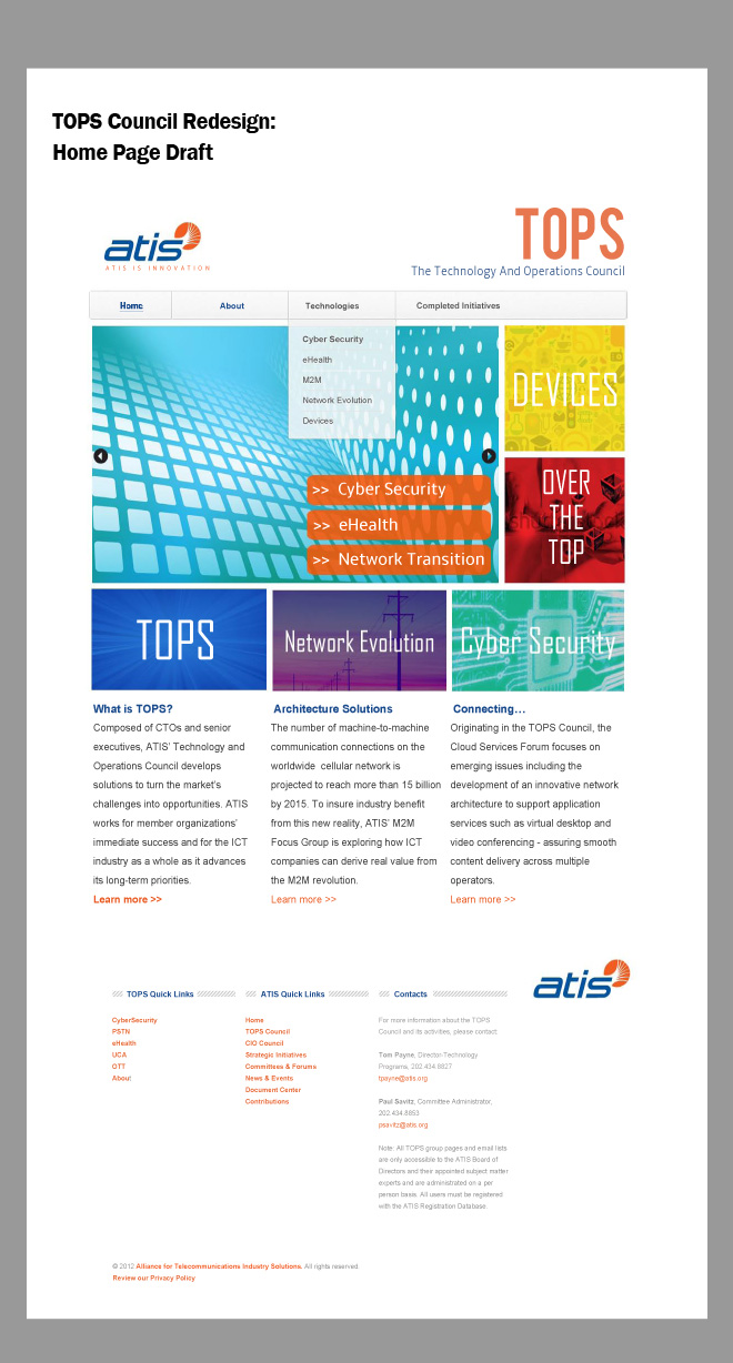 Full-color example of the home page with images depicting Device Solutions, Over the Top, Cyber Security, and Network Evolution projects.