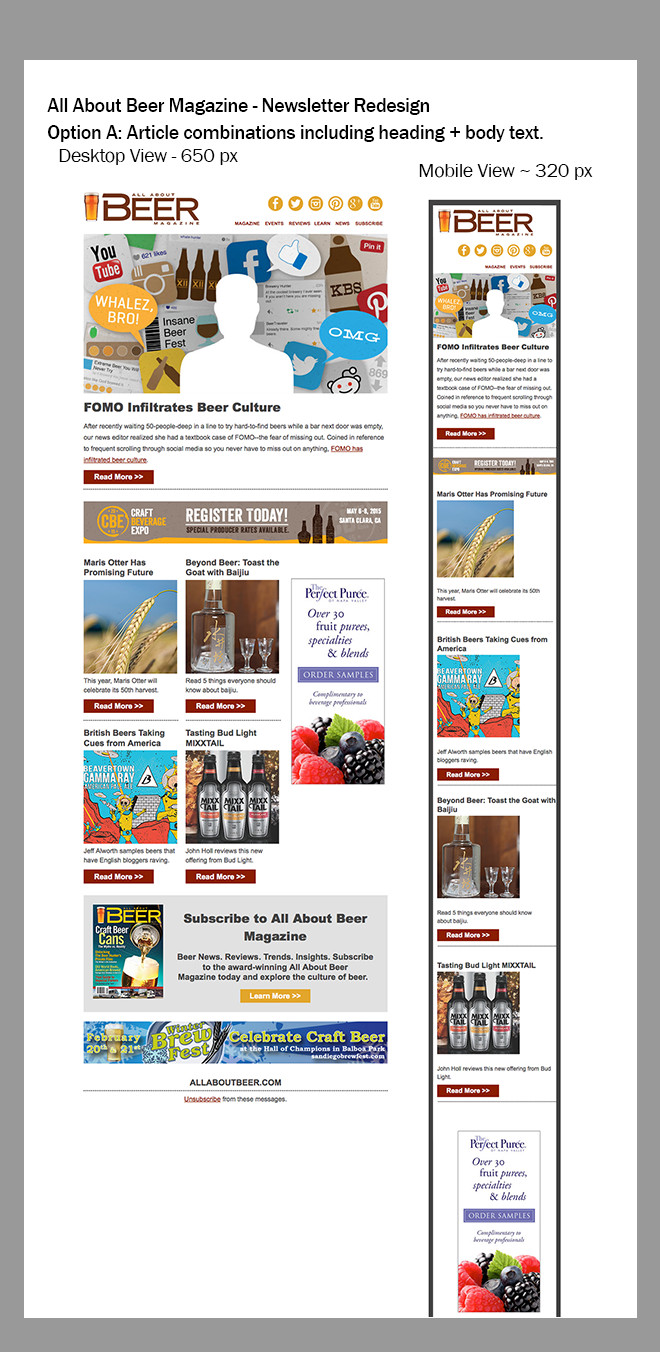 Layout view with article blocks including heading text and body copy