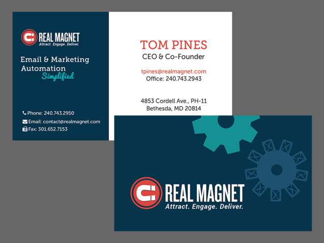 Marketing Automation branded business cards. Background is dark blue and features a horizontal layout.