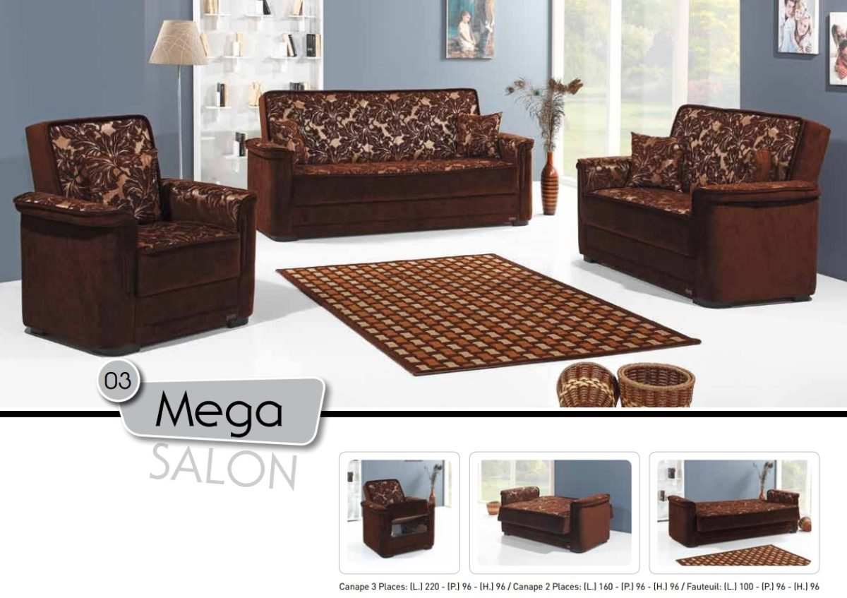 Salon 3 Places 2 Fauteuils Salon 3 2 1 Mega Marron