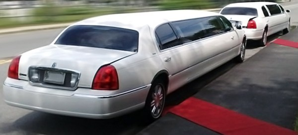 red carpets in front two white stretch limousines