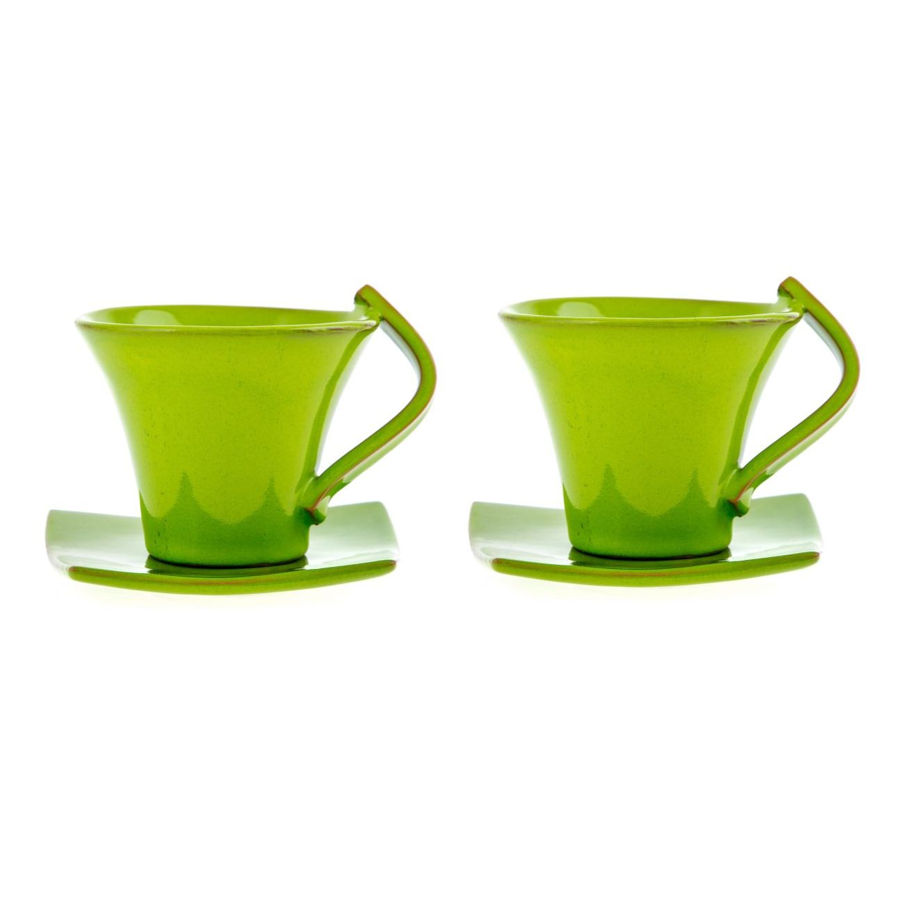 Small Coffee Cups And Saucers Mug Or Cup Saucer Set Of 2 Modern Handmade Ceramic Green 4 7 12cm Small