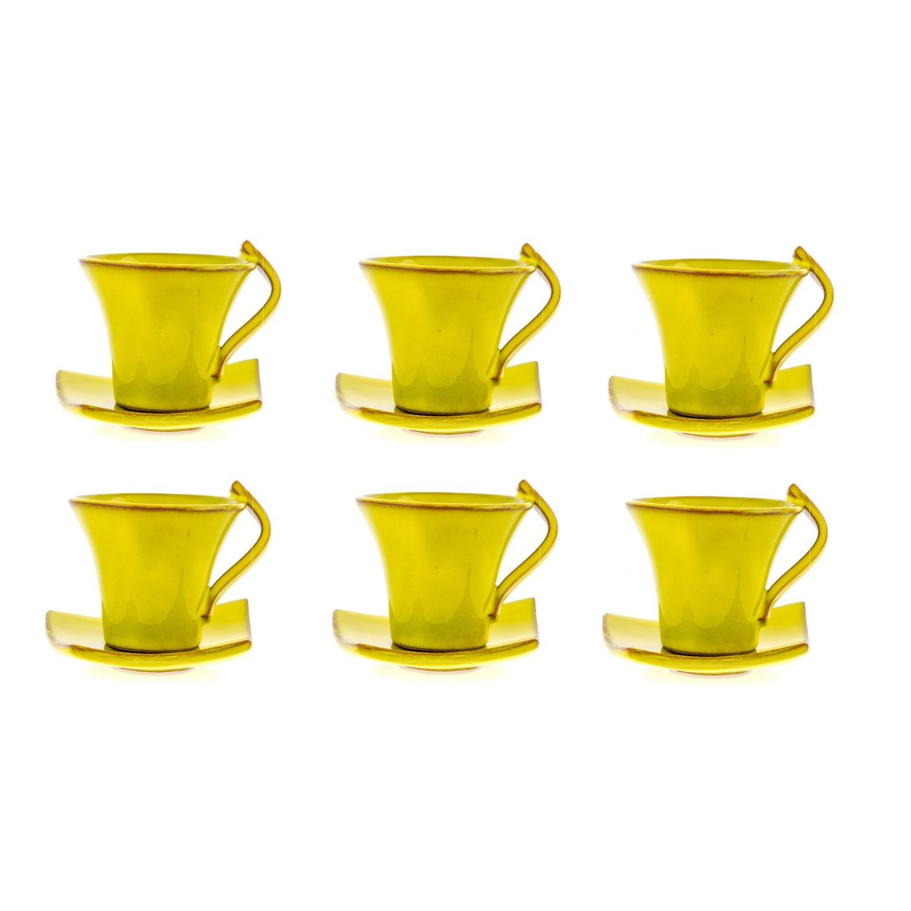 Small Coffee Cups And Saucers Mug Or Cup Saucer Set Of 6 Modern Handmade Ceramic Yellow 4 7 12cm Small