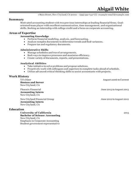 70 Outstanding Accounting  Finance Resume Examples  Templates from - financial resume examples