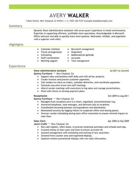 Best Store Administrative Assistant Resume Example From Professional