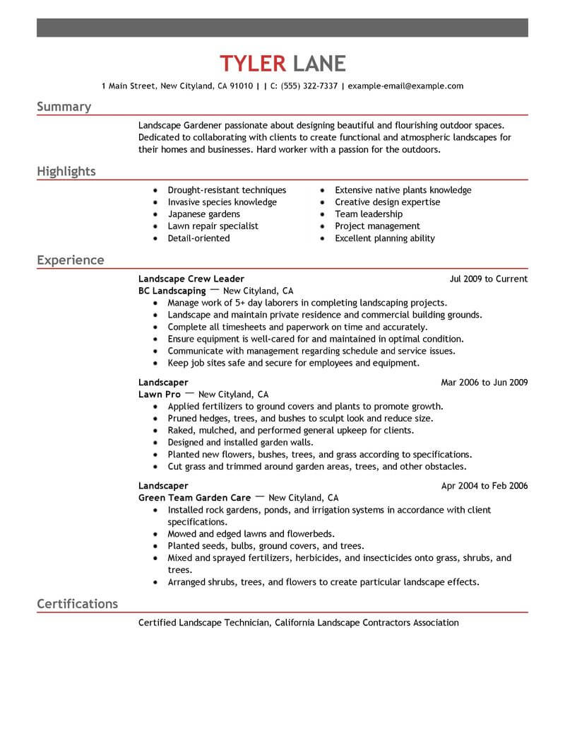 resume professional summary for landscaping