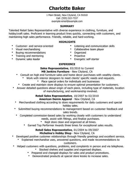Best Rep Retail Sales Resume Example From Professional Resume - sales resume