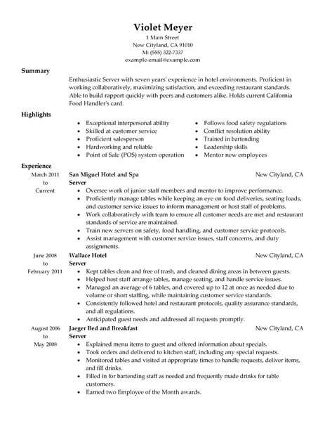 Best Hotel Server Resume Example From Professional Resume Writing