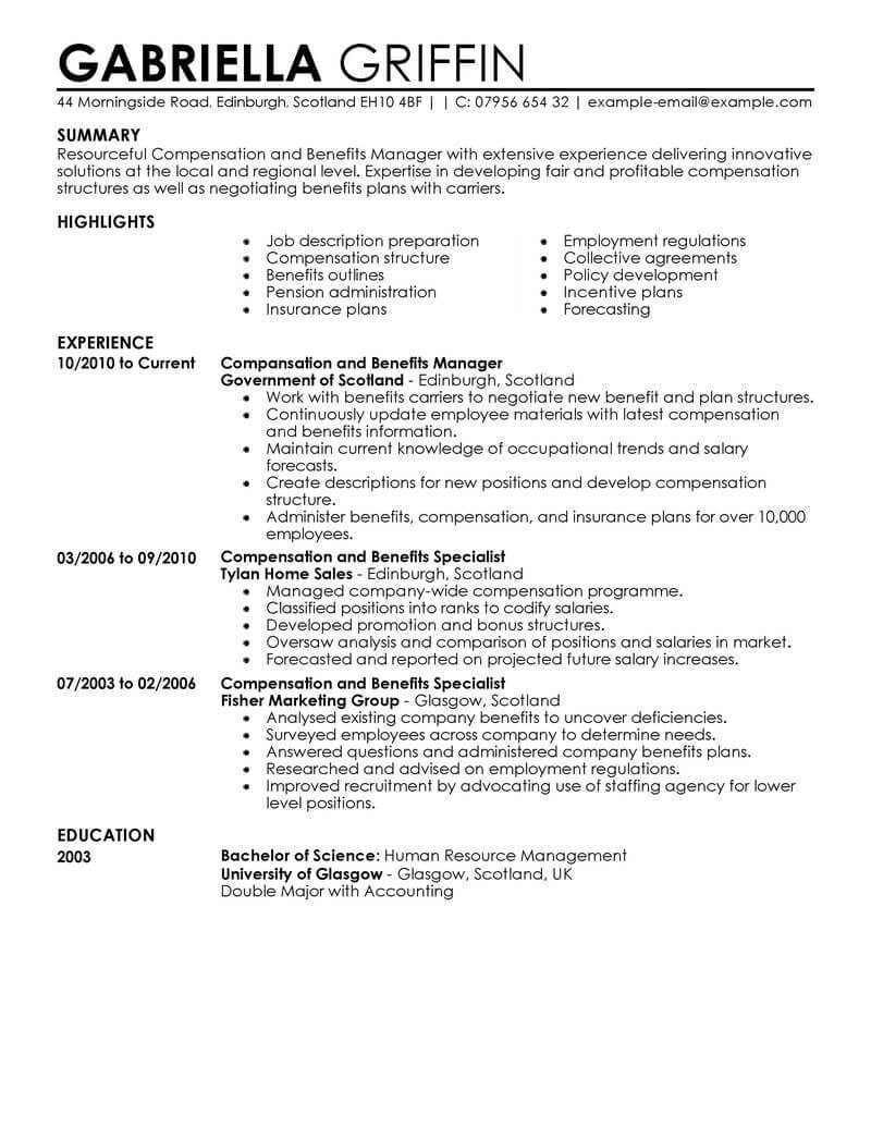 sample benefit resume