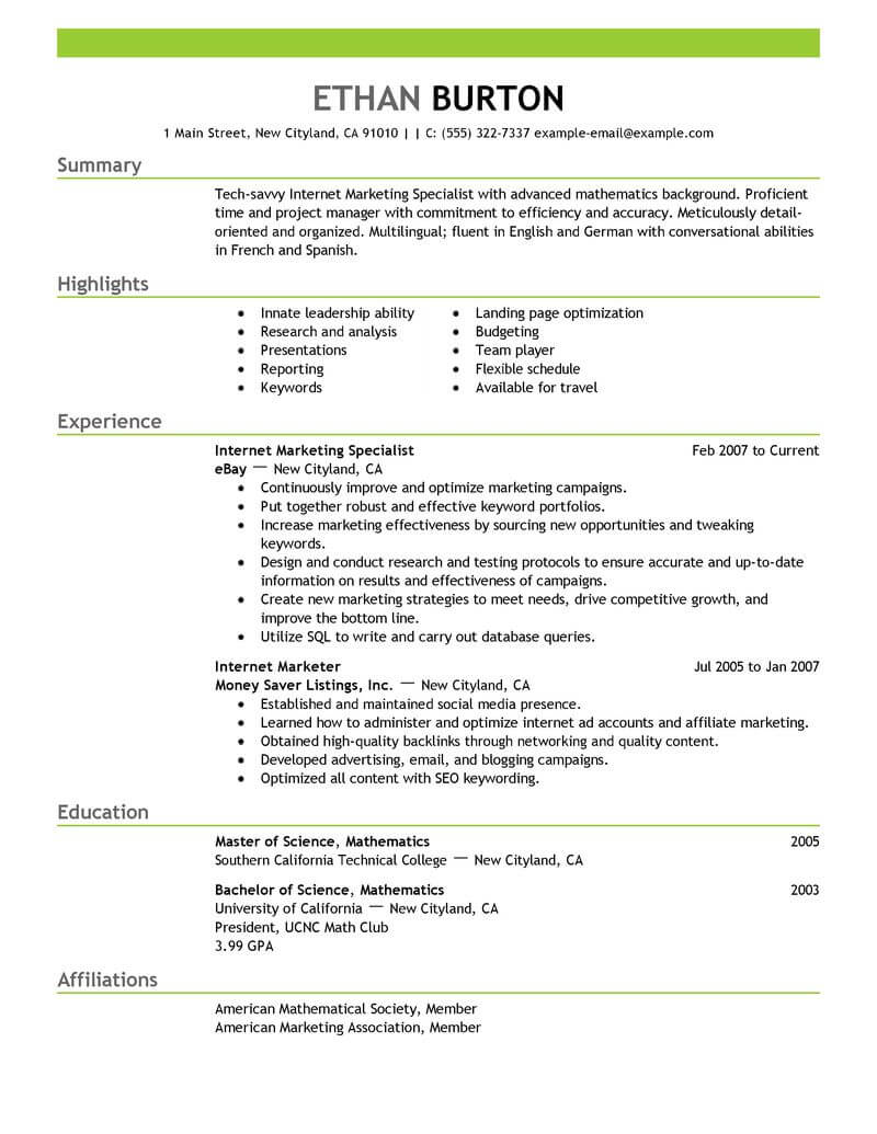 best online marketer and social media resume example from professional resume writing service